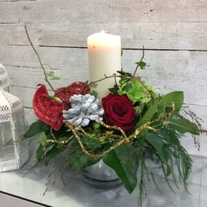Corporate Gifts - Christmas Candle Arrangement in Reds