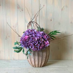 Faux Flower Delivery in Dublin. Faux Flowers Purple Hydrangea in Ceramic Urn