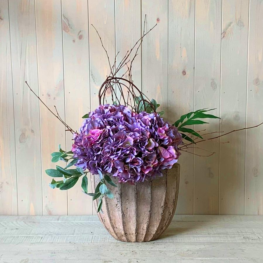 Faux Flowers – Purple Hydrangea in Ceramic Urn