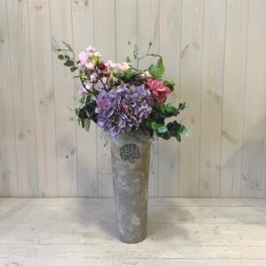 Faux Flowers Purple Hydrangea with Cherry Blossom in Ceramic Vase
