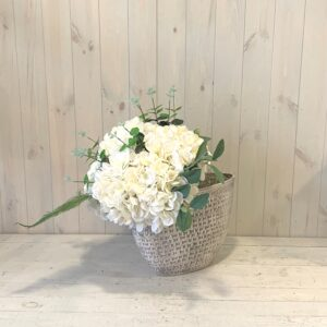 Faux Flowers – White Hydrangea in Ceramic Urn.