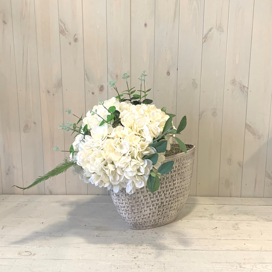 Faux Flowers – White Hydrangea in Ceramic Urn