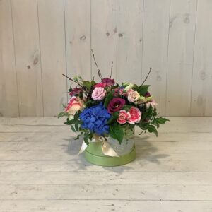 """Flowers to """"Click and Collect"""" - Mini hat box flowers in blues and pinks"""