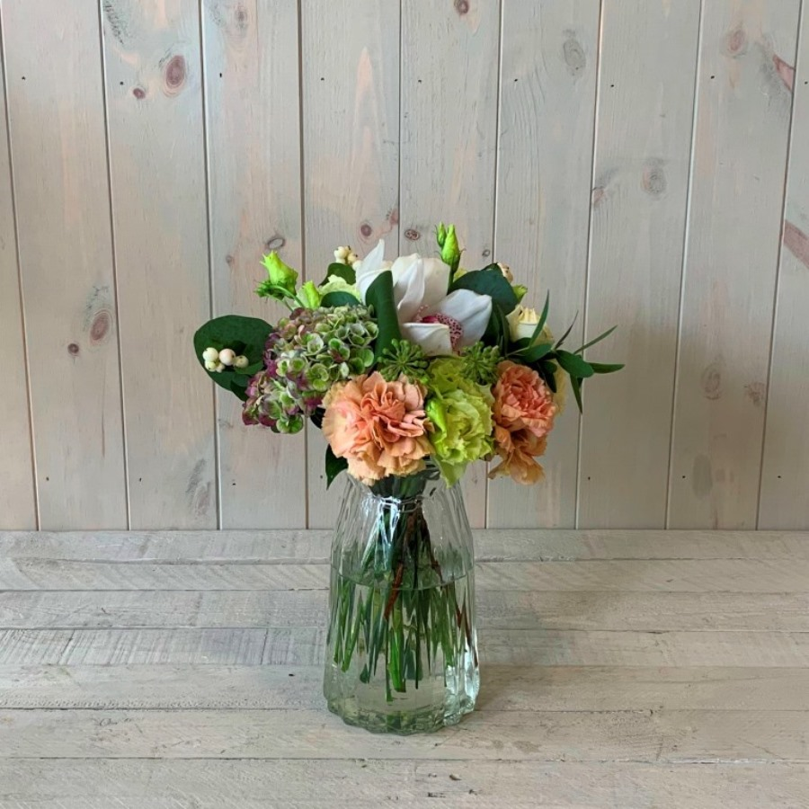 Petite Flower Bouquet in Peach and Creams