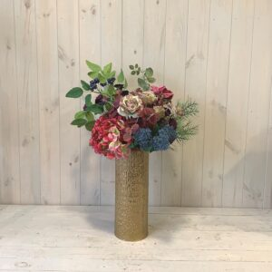 Order online for delivery in Dublin or click and collect. Silk Flowers Pink Hydrangea and Roses in Gold Vase