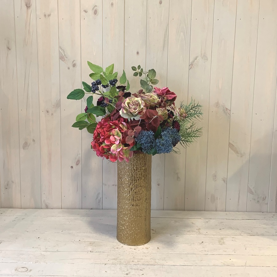 Silk Flowers – Pink Hydrangea and Roses in Gold Vase