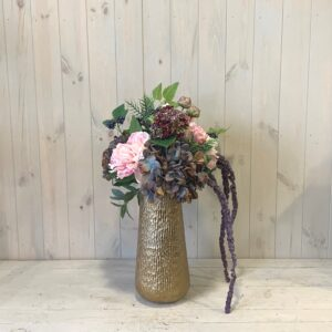 Artificial flowers designed and delivered in Dublin. Silk Flowers Pink Peony and Hydrangea in Gold Vase