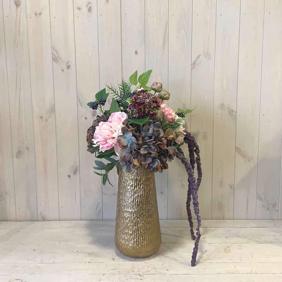 Silk Artificial Flowers – Pink Peony and Hydrangea in Gold Vase