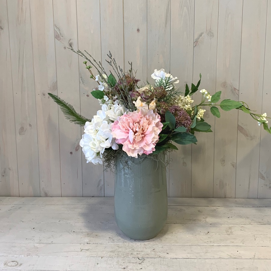 Silk Artificial Flowers – Pink Peony and White Hydrangea in Ceramic Vase