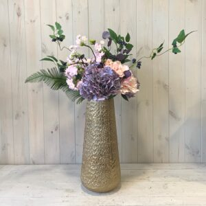 Artificial flowers for delivery in Dublin. Silk Flowers Pink and Purple Hydrangea with Apple Blossom in Gold Vase