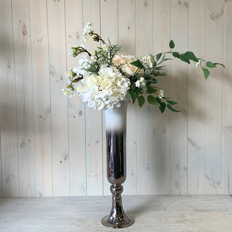 Silk Flowers – Creams Greens and Whites in Tall Vase
