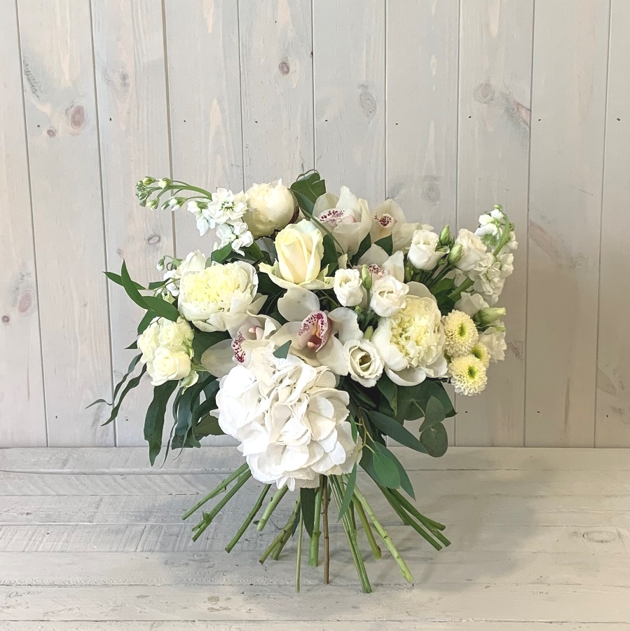 Subscription Flowers – Hand Tied Bouquet in Creams Greens and Whites