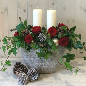 Christmas Candle Flower Arrangement in Reds