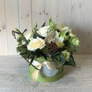 Christmas gifts delivered in Dublin - Christmas hatbox flowers in whites