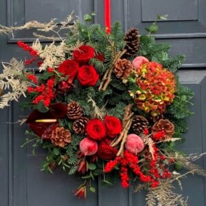 Fresh Christmas door wreath in reds - beautiful hand-made gifts delivered in Dublin