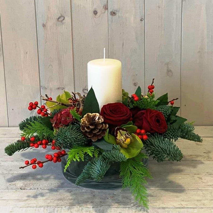 Festive flowers delivery in Dublin - Yuletide candle arrangement in reds and golds