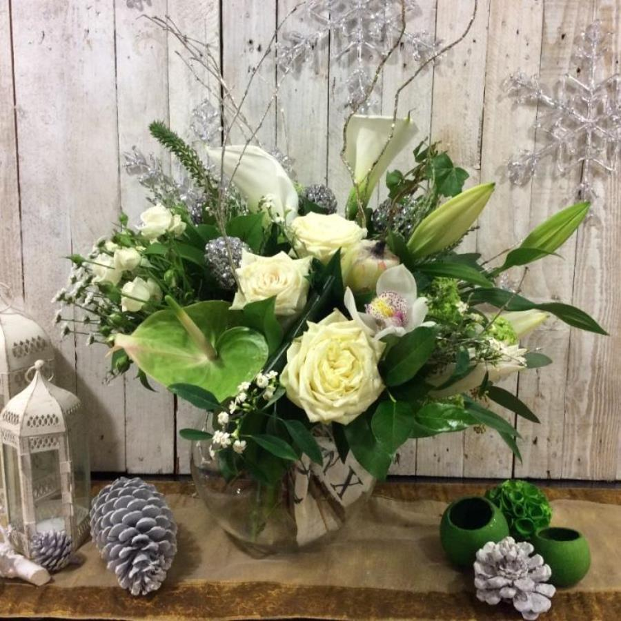 Yuletide flower bouquet in whites - send Christmas flowers in Dublin