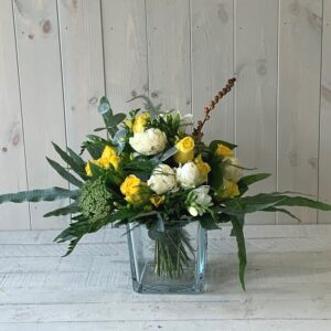 Cream and Yellow Spring Flower Arrangement with delivery available in Dublin city and county