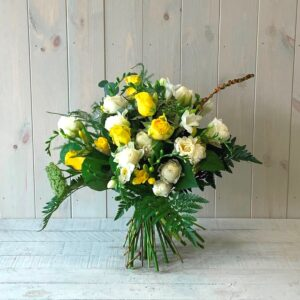 Cream and Yellow Spring Hand-Tied Flower Bouquet with delivery available across Ireland