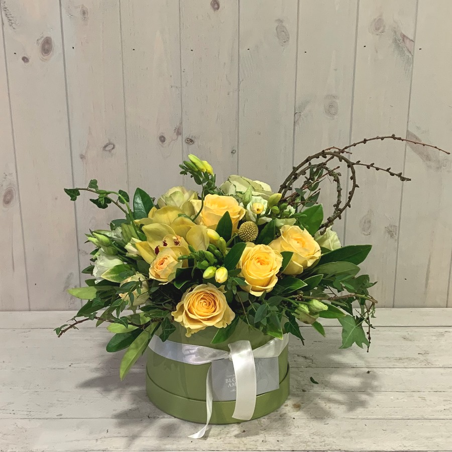 Freesia and Spring Roses in Pretty Hatbox - beautiful seasonal flower gifts delivered in Dublin