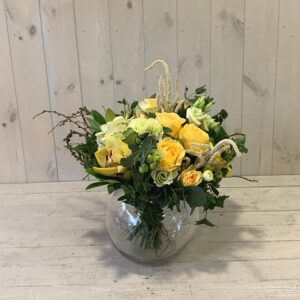 Freesia and spring roses in glass vase - seasonal flower arrangements for delivery in Dublin