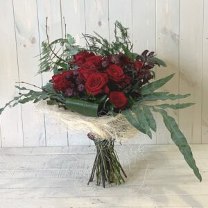 Red Rose Flower Bouquet. A dozen red roses for Valentines Day delivery in Dublin and across Ireland