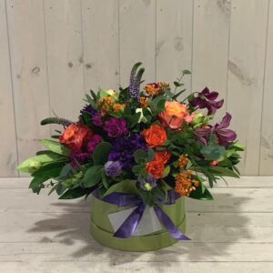 Scented Spring Flowers in Hatbox. Beautiful seasonal flowers for delivery in Dublin