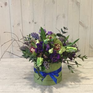 Tulips and Hyacinths in a Hatbox. Spring flowers delivered in Dublin city and county