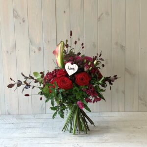 Valentines hand-tied flower bouquet. Valentines gifts for delivery in Irelandy