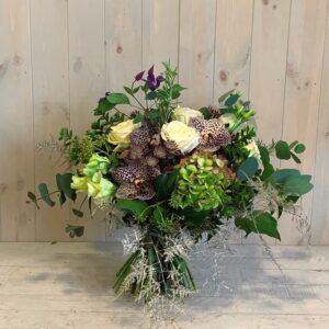 Vanda Orchids and Roses flower bouquet delivered by Blooming Amazing Flower Company Dublin