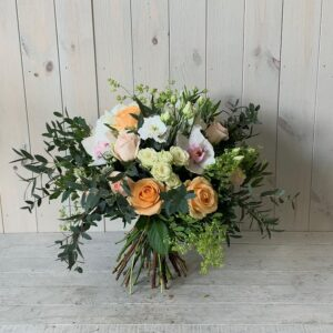Summer bouquet in peaches and creams designed and delivered in Dublin