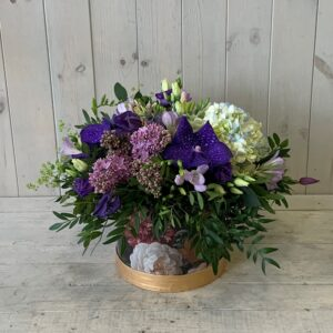 Flowers for corporate and home delivery in Dublin - blue summer flowers arranged in a pretty hatbox